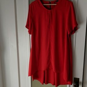 City Chic Red Tent Dress Keyhole High Low Hem